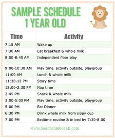 Sample Menu for One Year Old | Kid, Daily routines and Babies