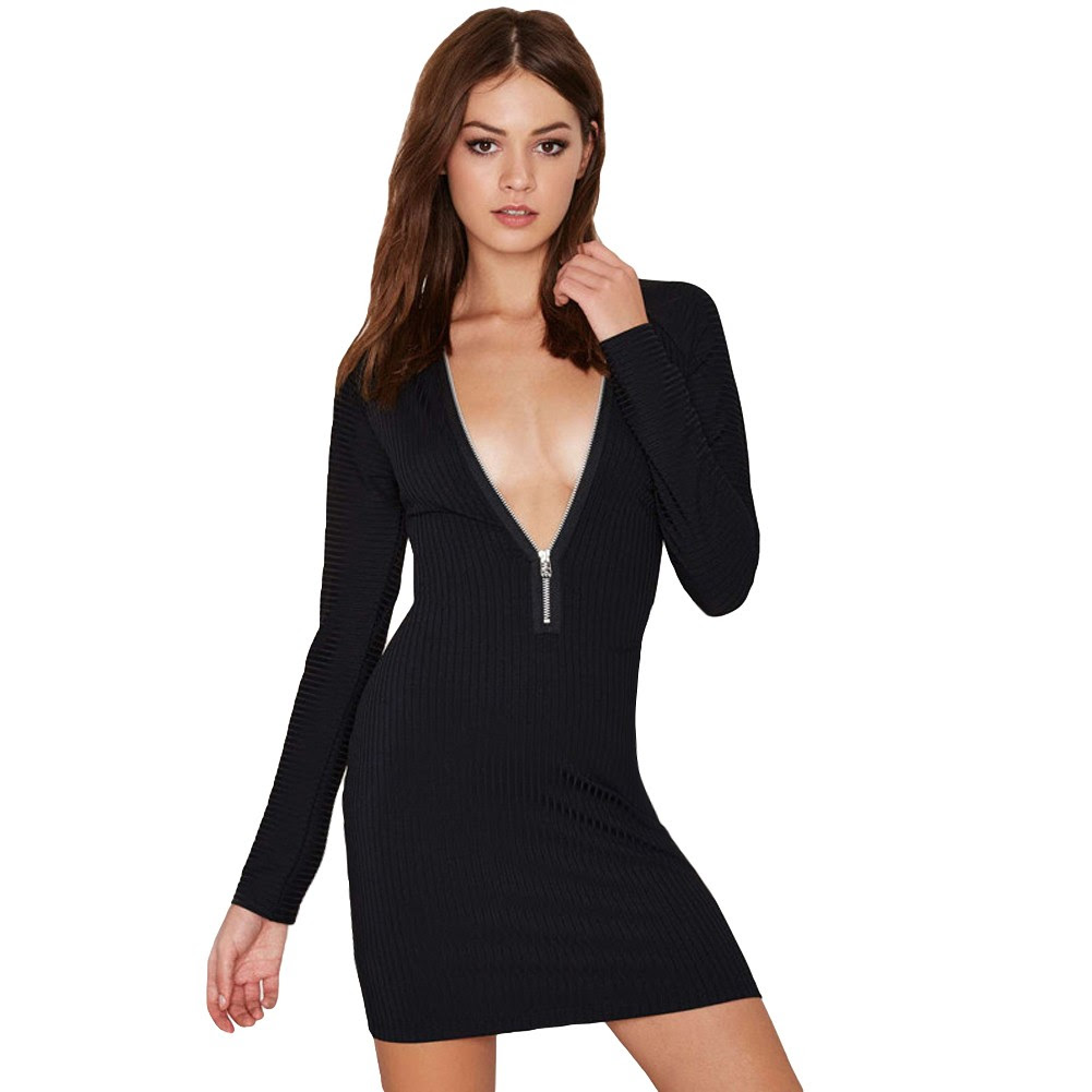 Cream long sleeve bodycon dress