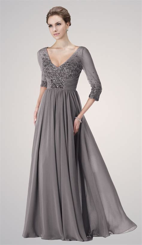 Plus Size V Neck Grey Chiffon Mother of the Bride Dresses