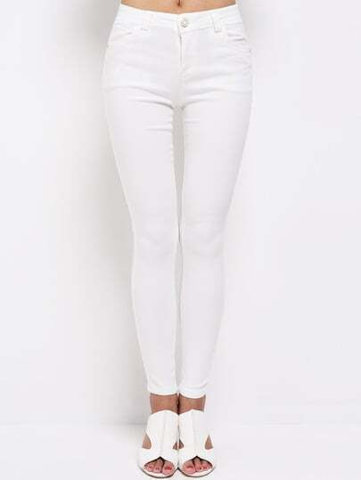 White Slim Embroidered Pockets Pant pictures