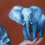Elefante, dettaglio di un quadro di Paula Dias