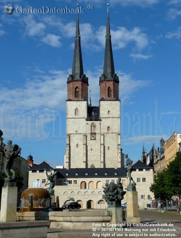 Hallmarkt mit Blick auf die Westtürme der Marktkirche