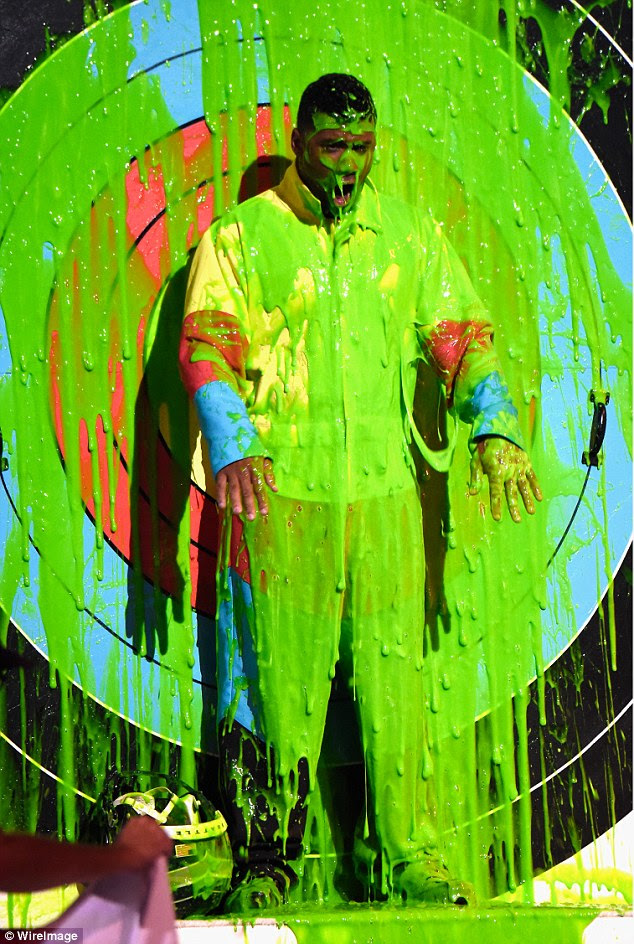 Matter of time: The NFL superstar was asking to be slimed after signing up to be the host of this year's event