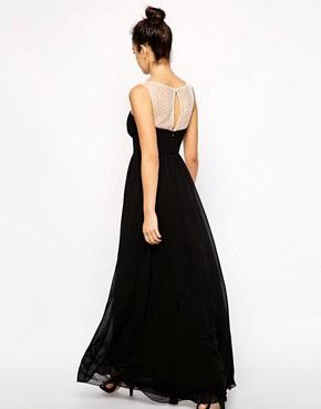 Image 2 ofNew Look Diamante Mesh Yoke Maxi Dress