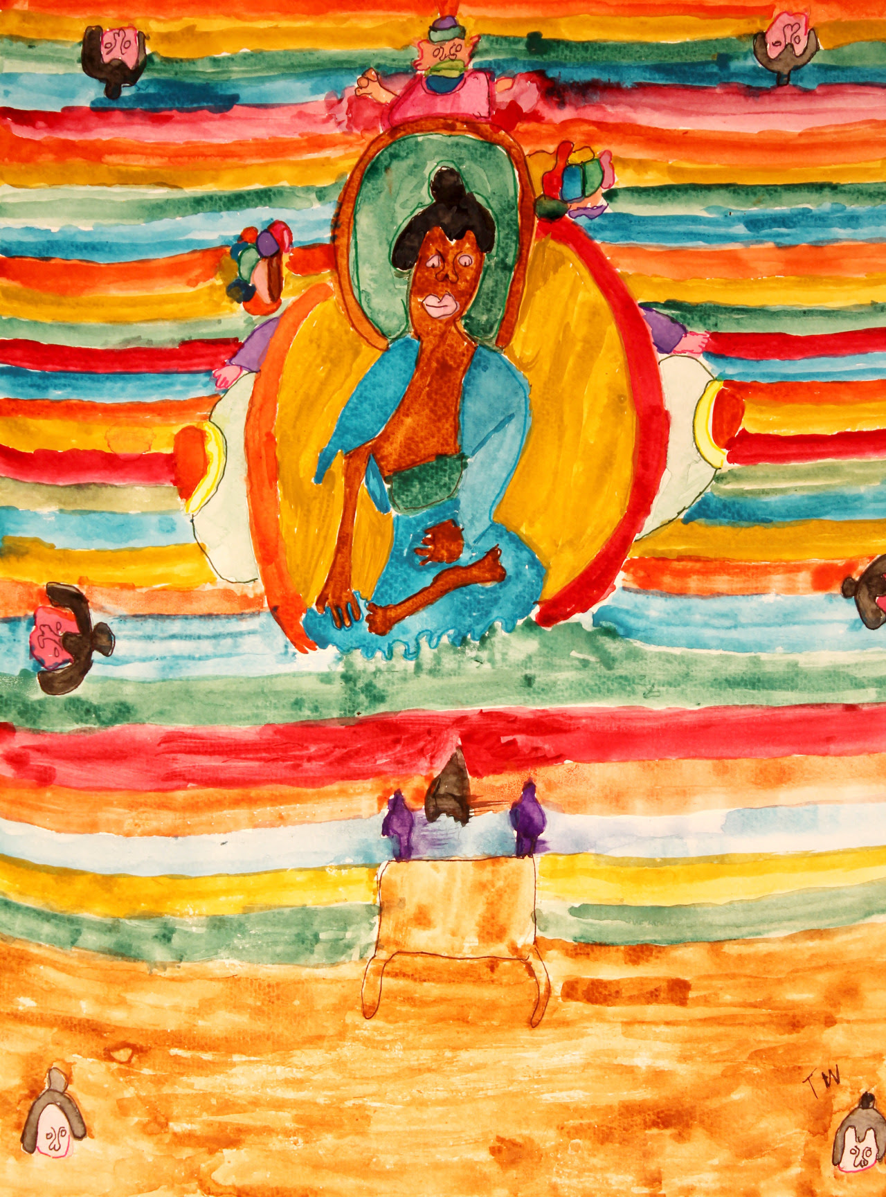 """Terry Wright, Striped Buddha Watercolor 18"""" x 24"""" 2012 Collection of Susan McDonald"""