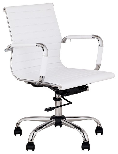 Contemporary White Leather Low Back Swivel Office Chair ...