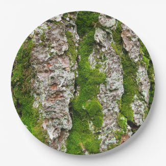 Pine Tree Bark With Moss 9 Inch Paper Plate