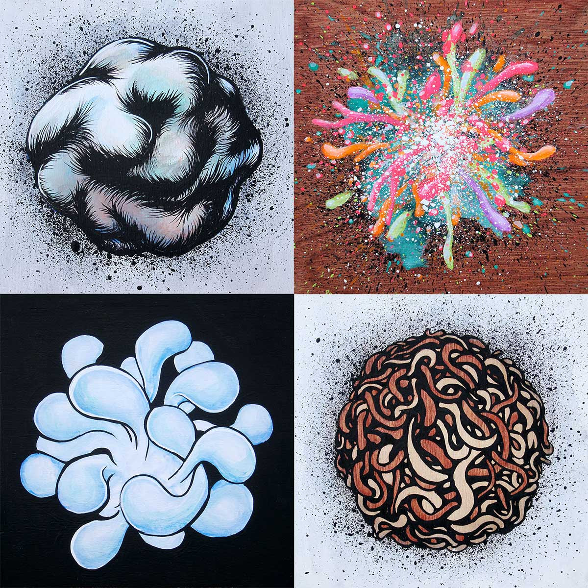 """Collective Unconscious Dissection 4x4"""" each acrylic, ink and wood stain on birch panels"""