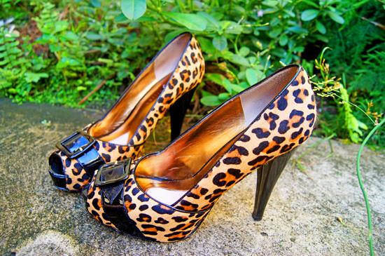 Leopard Heels & Teal dress