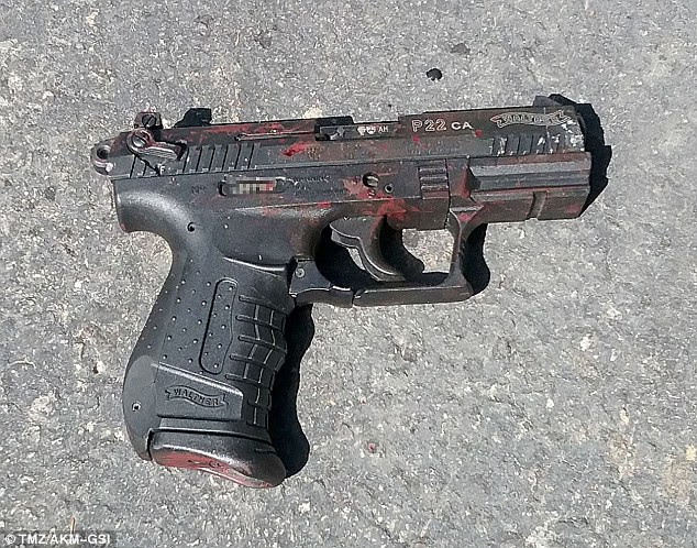 The guard shot Haywood four times after he scaled a fence onto Kerr's $2million Malibu property. Pictured, a gun at the scene covered in blood