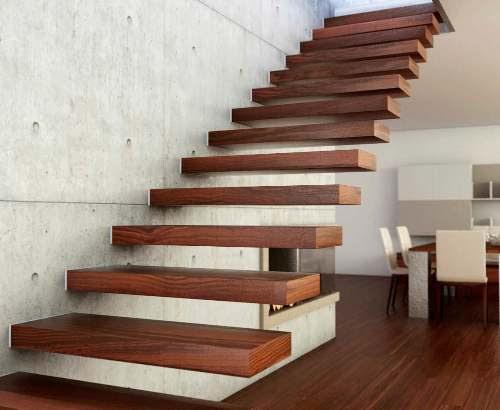 Model tangga kayu bernuansa minimalis