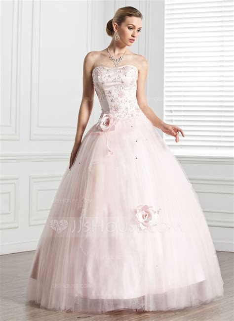 Ball Gown Sweetheart Floor Length Tulle Quinceanera Dress