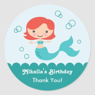 Mermaid Birthday Favor Sticker