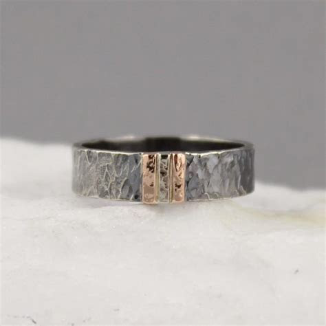 Men's Wedding Band   14K Rose & White Gold On Black