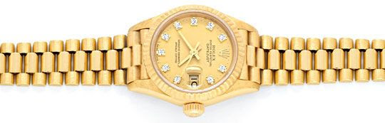 Originalfoto ROLEX DATEJUST DAMENUHR GOLD DIAMANTZIFFERBLATT