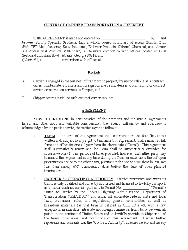 contract carrier transportation agreement d1