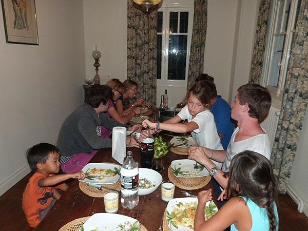 dîner de pâtes aux coques