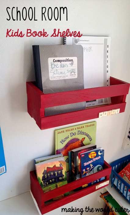School Room DIY Kids Book Shelves - Making the World Cuter