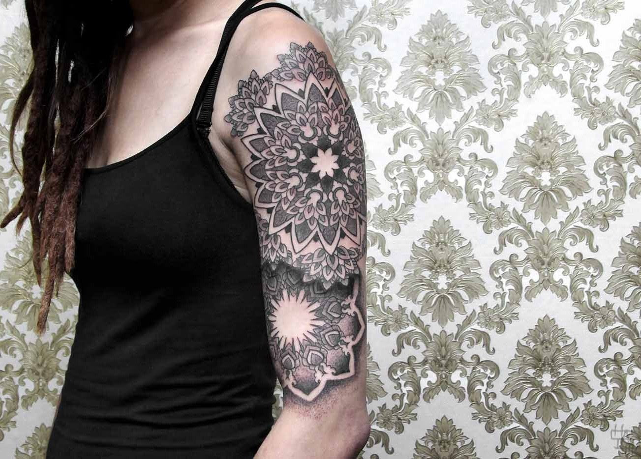 Patterned Half Sleeve Tattoo By Chaim Machlev Design Of