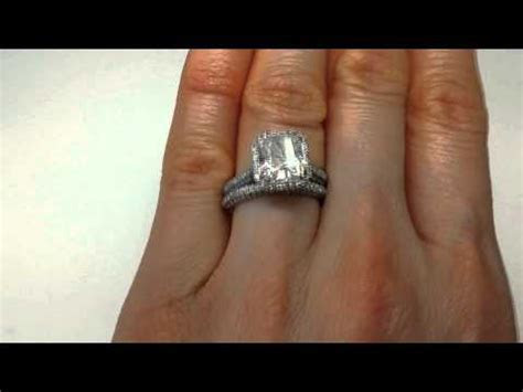 4.18 ctw Radiant Cut Engagement Ring and Wedding Band Set