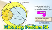 Problema 54: Circunferencias tangentes interiores, Cuerda, Tangente, Punto Medio de un arco.