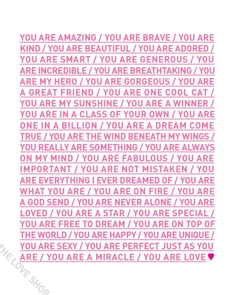 YOU ARE LOVE (16x20 inch Archival Art Poster Print in Pretty Pink)