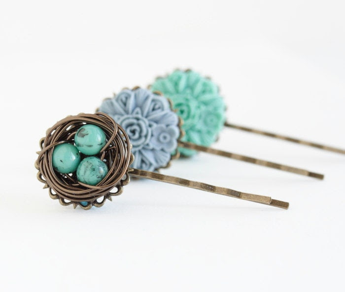 Bird Nest Bobby Pins, Green Blue, Nature Inspired, Gift Idea For Girl, Easter Gift For Girls
