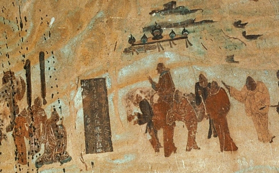 The Chinese mission of Zhang Qian to the Yuezhi in 126 BCE, Mogao Caves, 618–712 CE mural painting