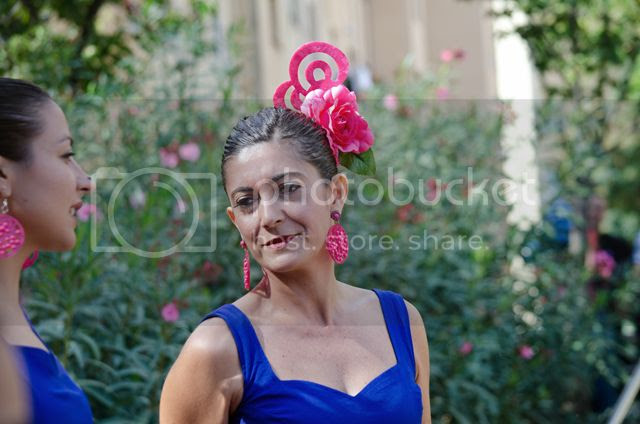 Flamenco dancer with headpiece and earrings, Barcelona [enlarge]