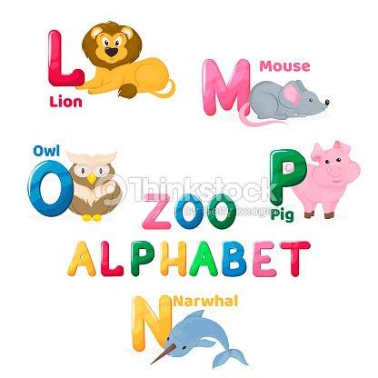 動物園動物アルファベットのかわいい文字分離別教育ベクトル英語 Abs
