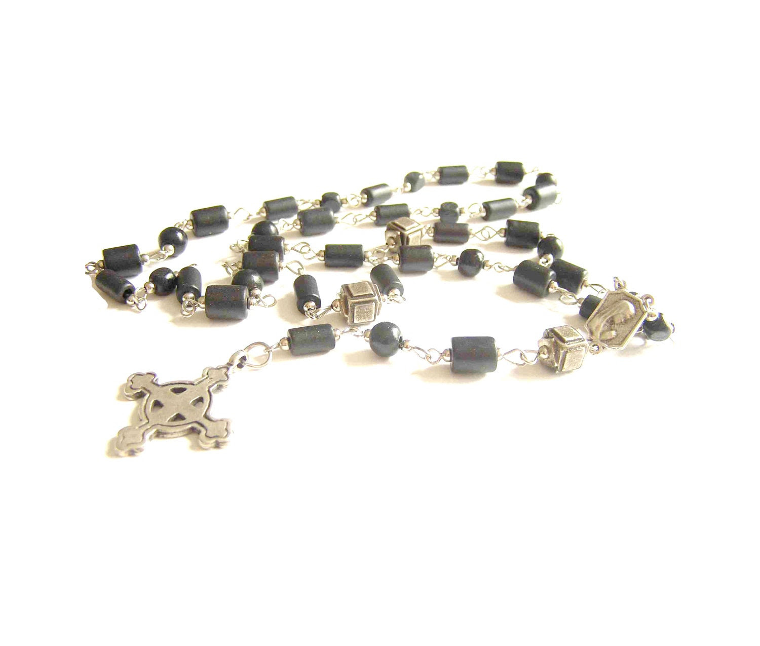 Unisex ceramic-beaded rosary handmade of BLACK ceramic, wooden and metal beads ending with cross - MyParadeAtelie