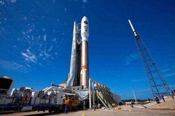 The Atlas V rocket arrives at its launch pad at Cape Canaveral Air Force Station in Florida, on March 3, 2011.