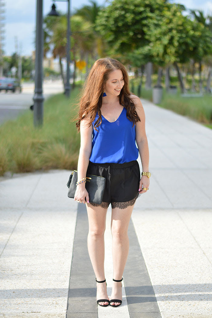 black lace trim shorts  law of fashion blog