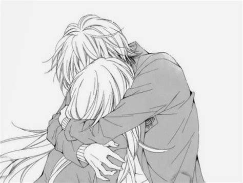 anime couple hug kawaii