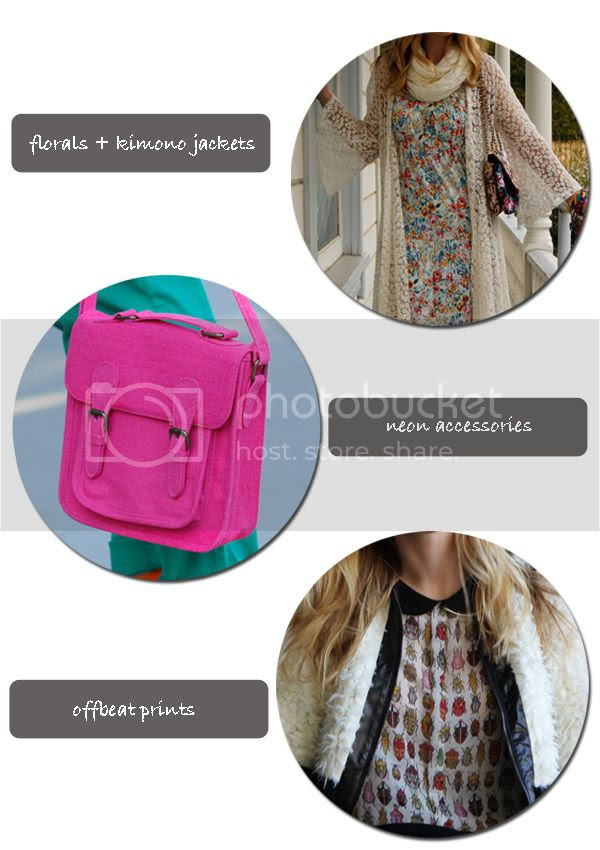spring 2012 fashion trends, Gypsy Junkies Sissy long cardigan, fringe lace kimono, Xhilaration neon handbag, Zara bug insect print top