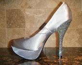 Swarovski Crystal - Satin Silver Platform Shoes - Size 7 - FREE SHIPPING