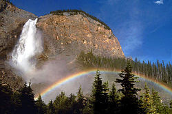 Rainbows may also form in mist, such as that of a waterfall