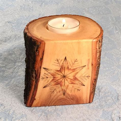 Star Front Natural Tree Wood Tealight Candle Holder