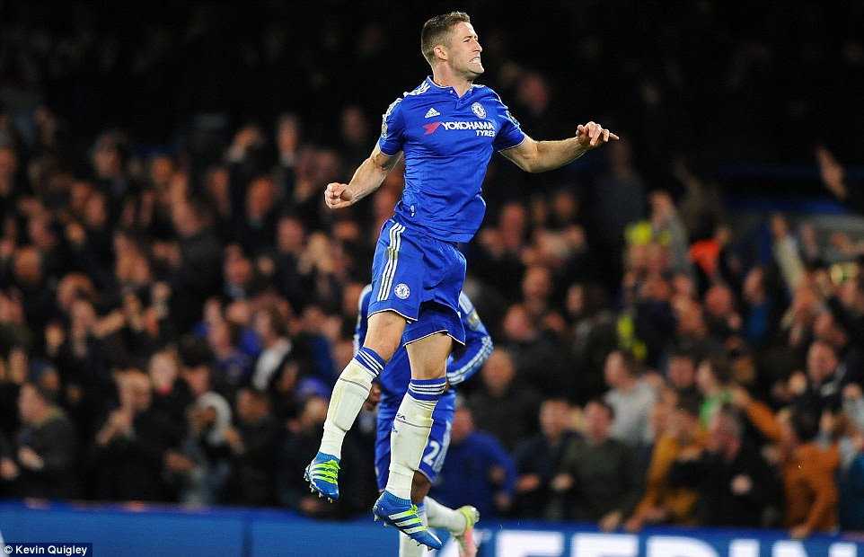 Cahill jumps for joy as the England and Blues centre back breathes life into Chelsea's challenge