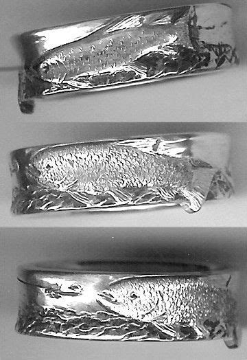 Sterling Silver Steelhead Trout fly fishing ring, carved