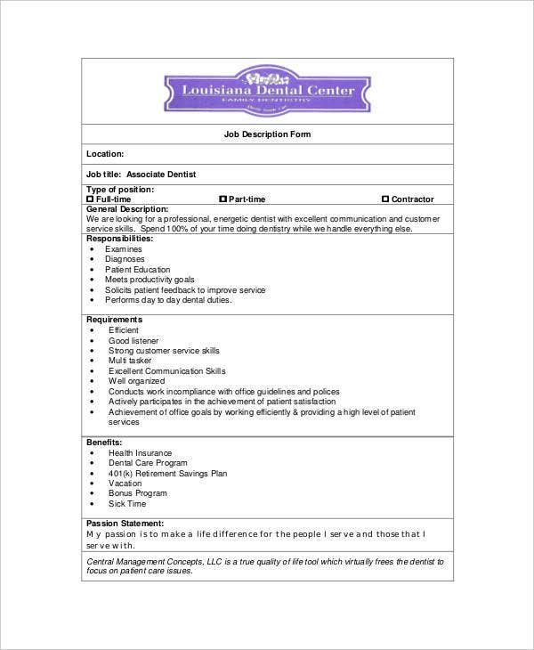10 Sample Dentist Job Description Templates Pdf Doc