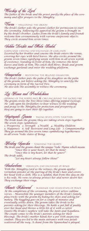Indian Wedding Program Interfaith Wedding Ceremony Hindu