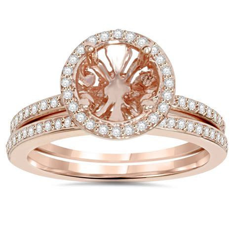1/3Ct Rose Gold Halo Diamond Engagement Ring Setting