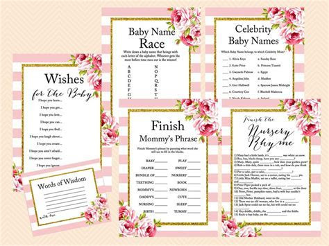 Pink Floral Chic Baby Shower Game Pack   Magical Printable