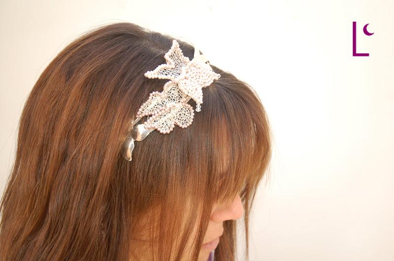 Vincha Mariposas - Plata 925 y 1000, perlas naturales y cristales swarovski