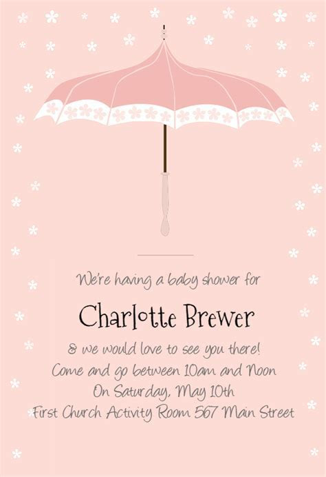 Floral Umbrella   Baby Shower Invitation Template (Free