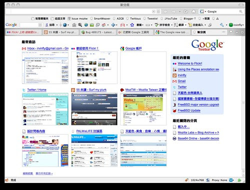 Google Toolbar 新分頁功能