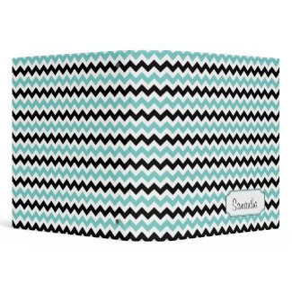 Teal Blue Black White Chevron Pattern