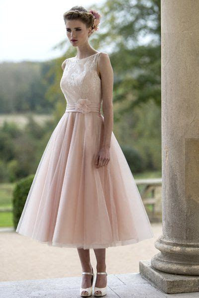 Tea length bridesmaid dress with delicate lace bodice and