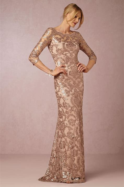 Long Sleeve Rose Gold Mother of the Bride Dresses 2016